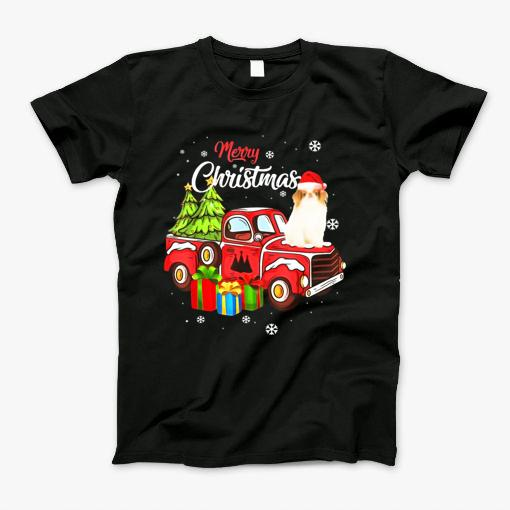 Japanese Chin Riding Red Truck Merry Christmas X-Mas
